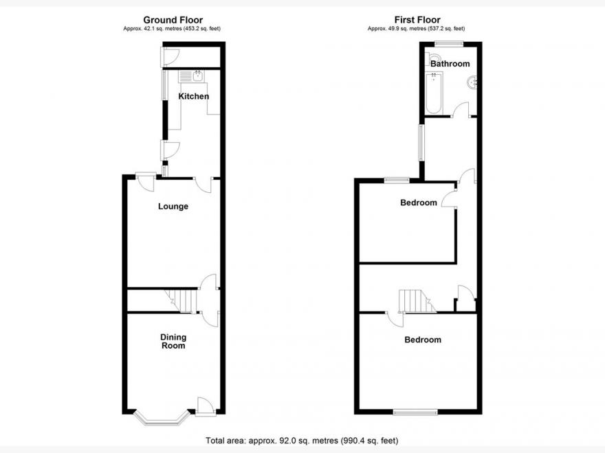 3 Bedroom Terraced House For Sale - Floor Plan